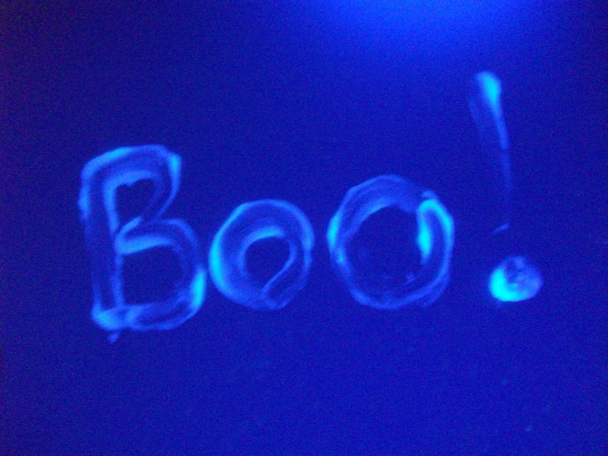 Petroleum jelly glows under a black light.