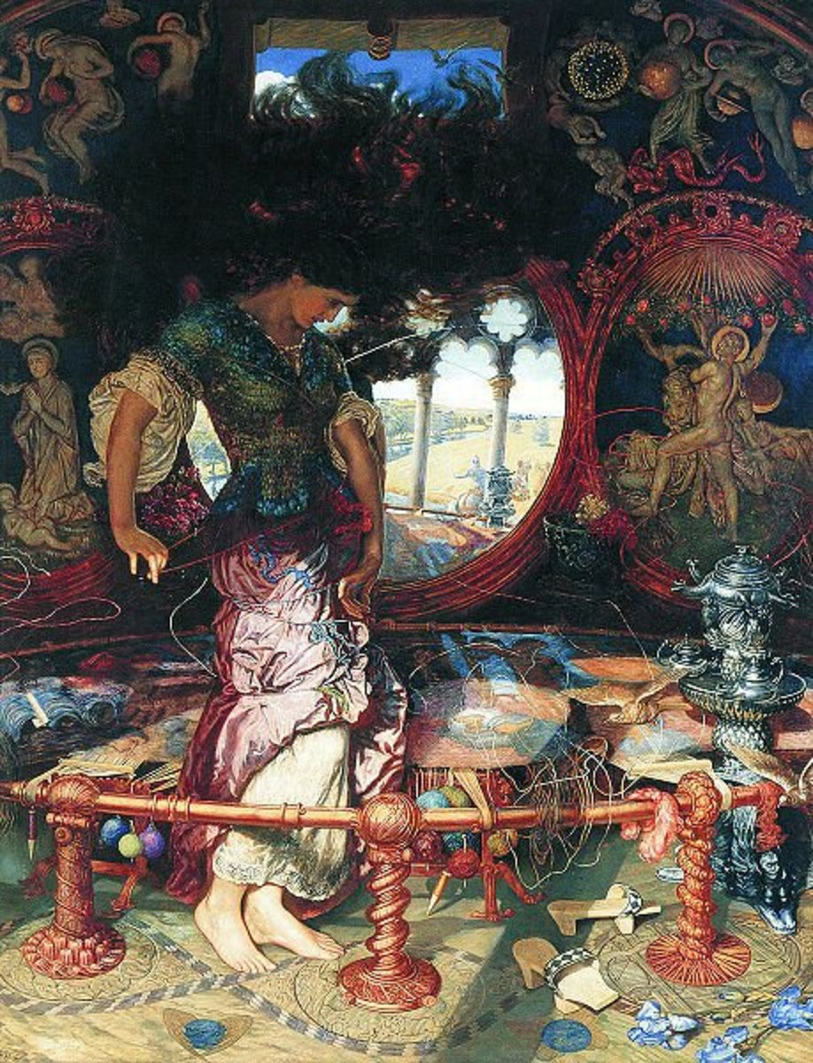 The Lady of Shalott by William Holman Hunt, 1905. Wadsworth Athenaeum, Hartford, Connecticut. Image coutesy Wiki Commons