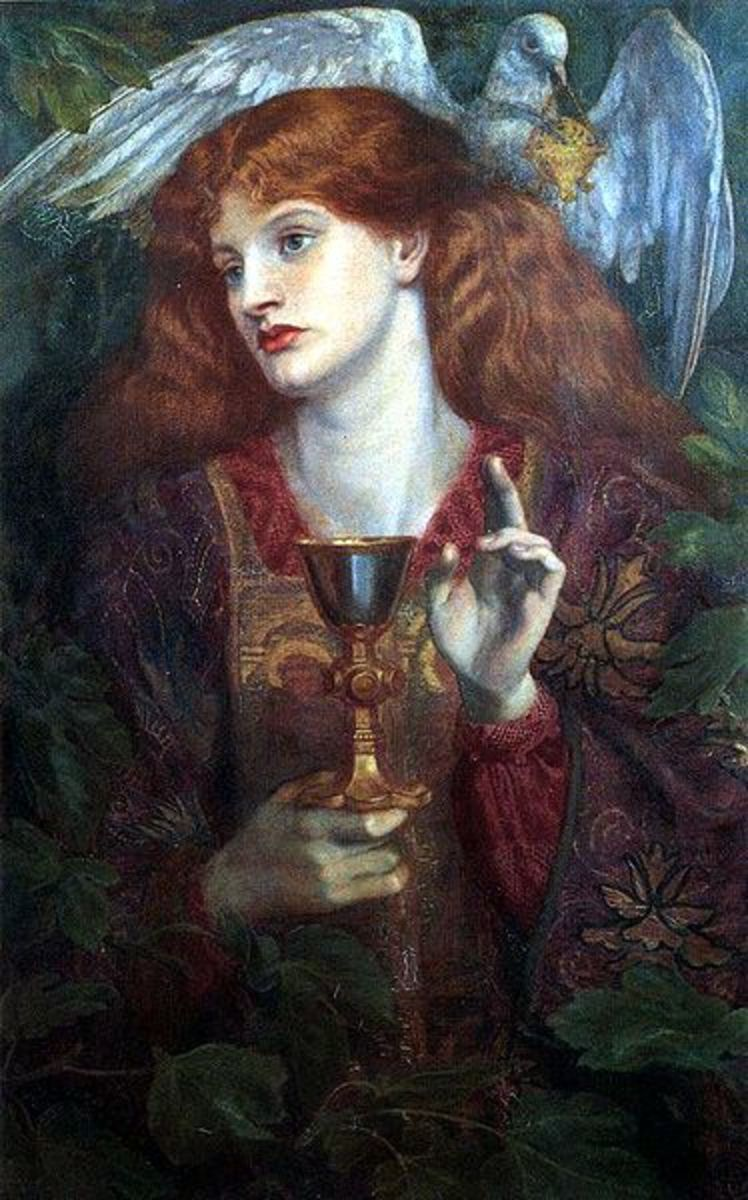 The Damsel of the Holy Grail by Dante Gabriel Rossetti, 1874. Image courtesy of Wiki Commons