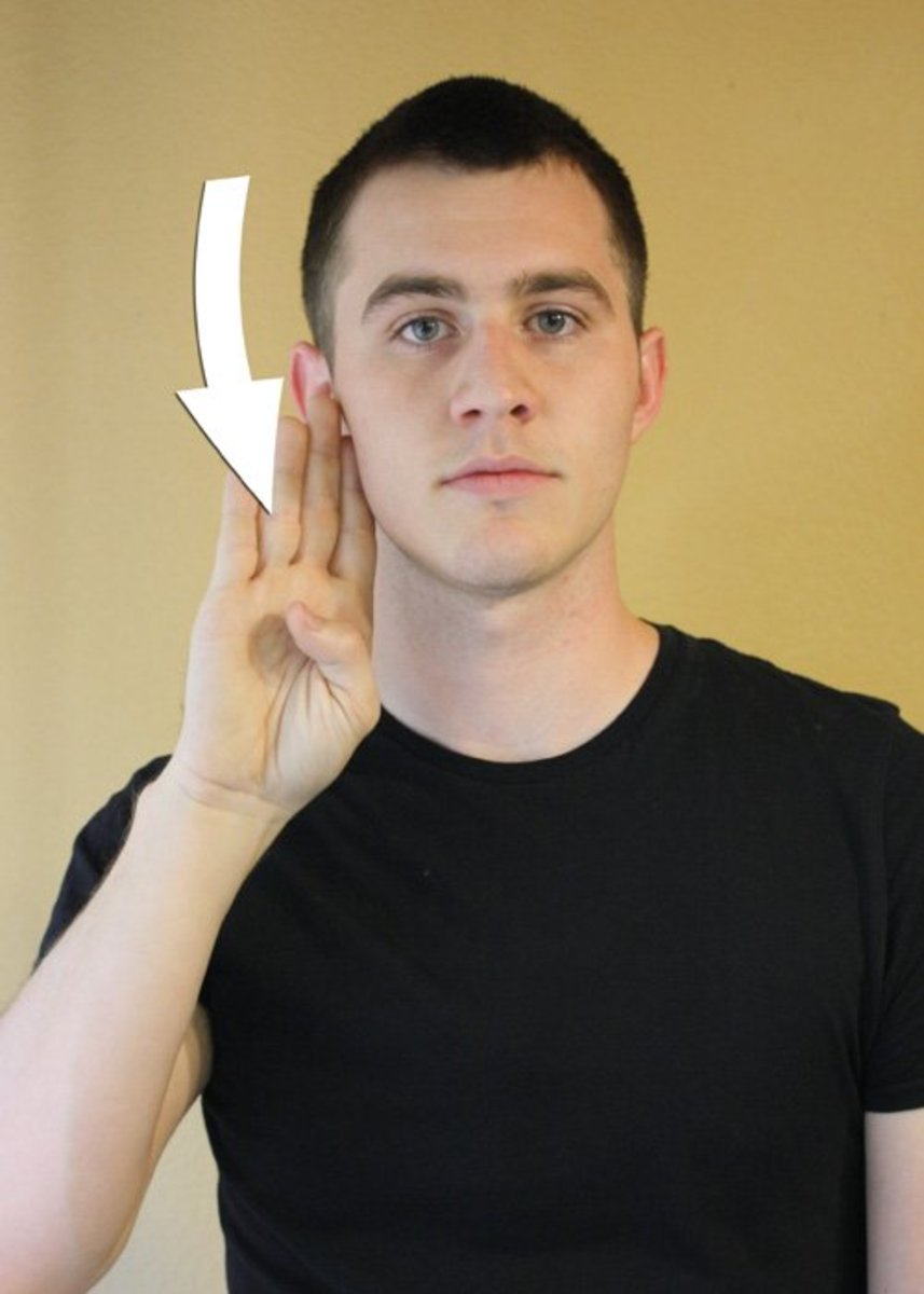 B hand-shape slides down the side of the face from top to jaw.