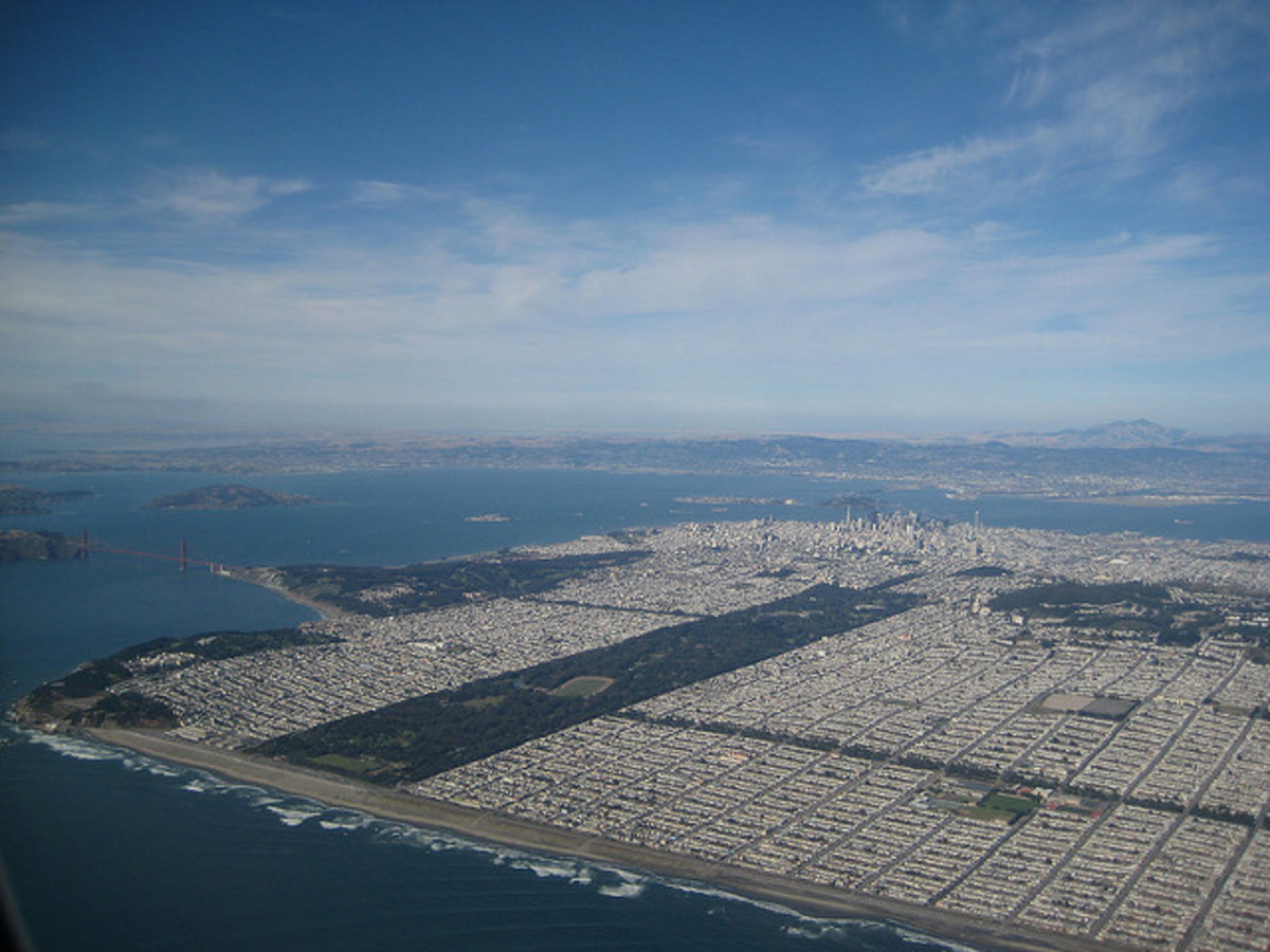 So large a swath of land is occupied by Golden Gate Park, that only an aerial view can take it all in
