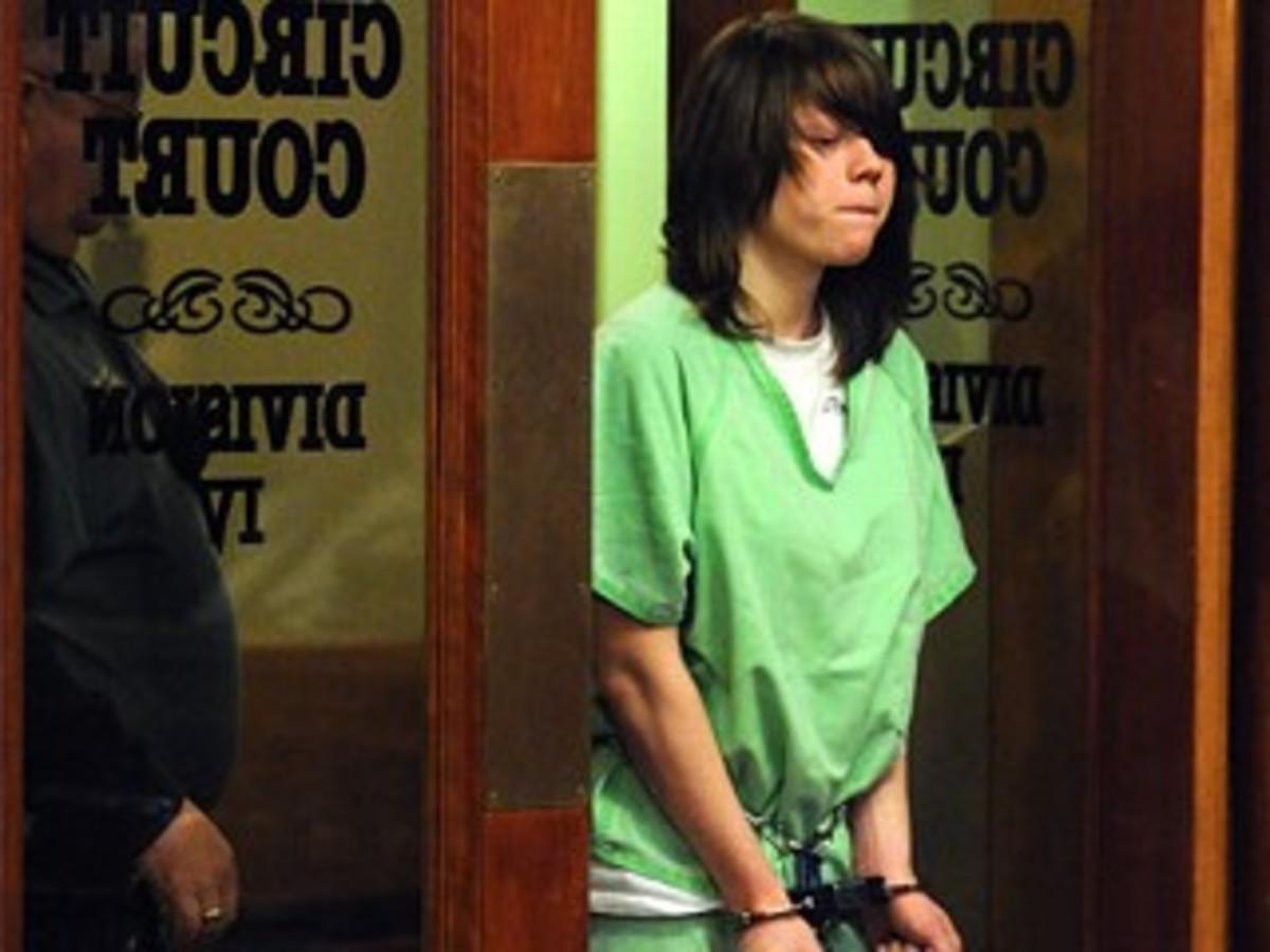 Alyssa Bustamante arriving in court for her hearing.