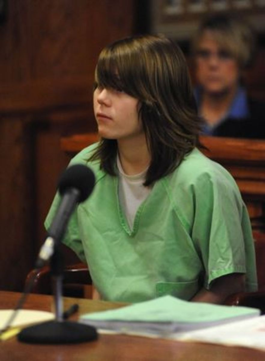 "Alyssa Bustamante in the courtroom, where she initially pled ""Not Guilty""."