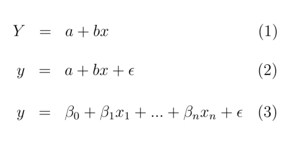Fig. 2. Basic relations for linear regression; where x denotes independent (explanatory) variable whereas y is independent variable.