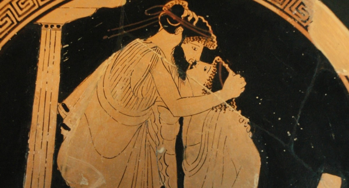 Ancient Greek pottery, depicting the emotion and touch associated with deep affection.