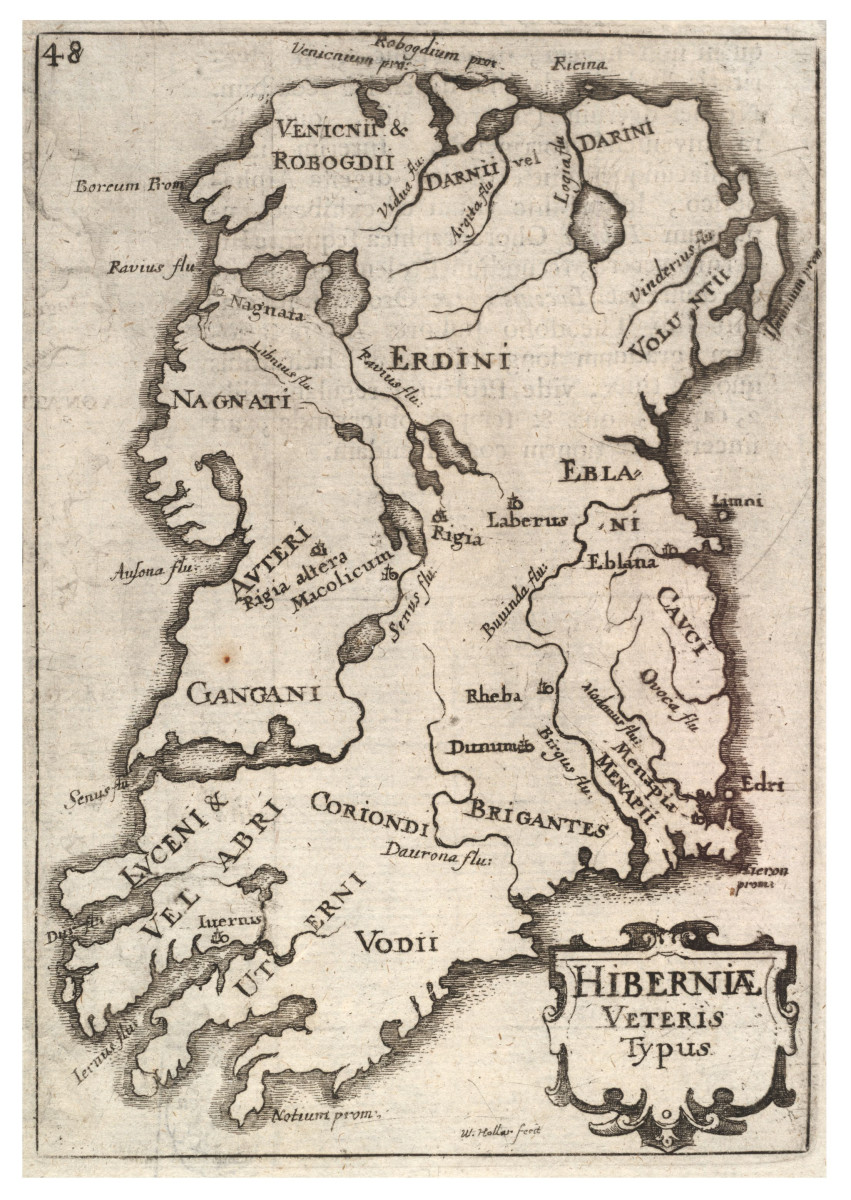 Early map of Ireland showing names of tribes.