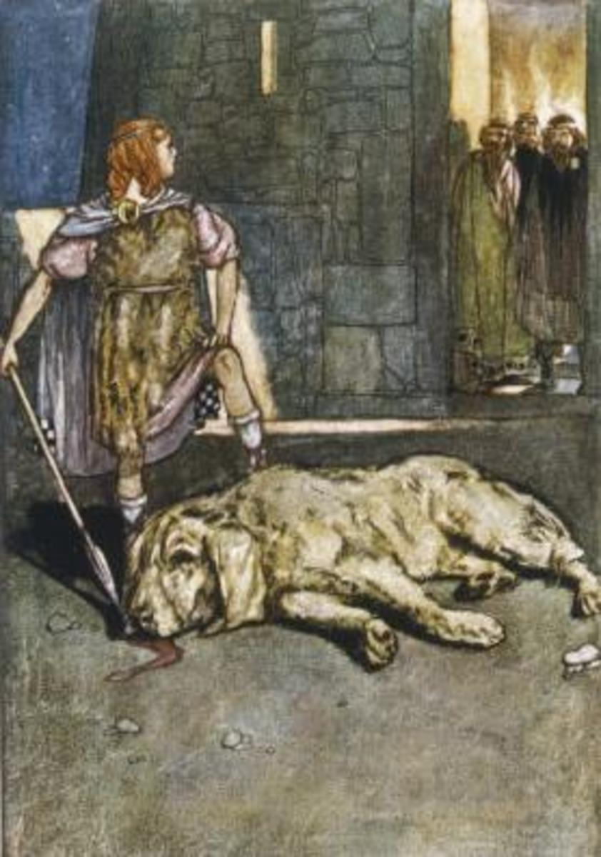 Scene from the story of how C Chulain got his name - because he accidentally slew the hound of Cullen he offered to take the guard dogs place. Ever after he was known as Cu Chulain, the hound of Cullen.