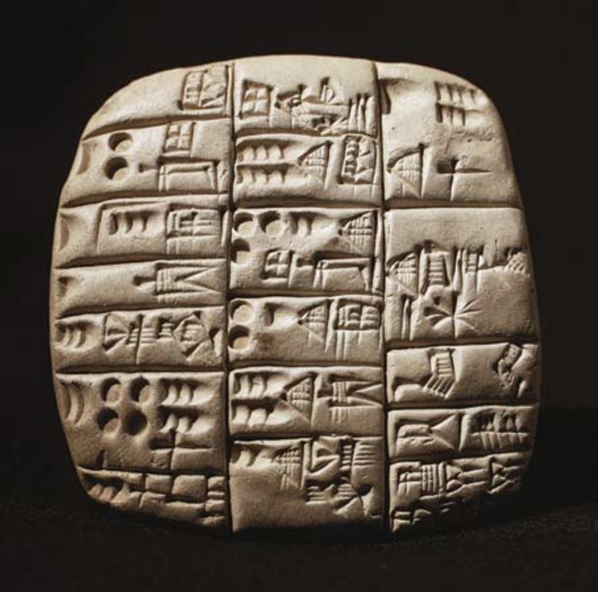 An example of cuneiform, a style of writing utilized in Mesopotamia.