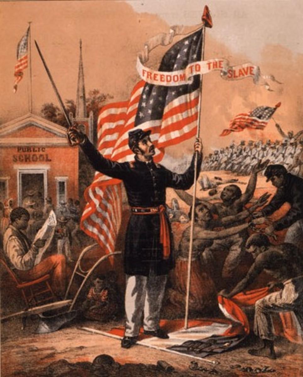 The Union holding a flag