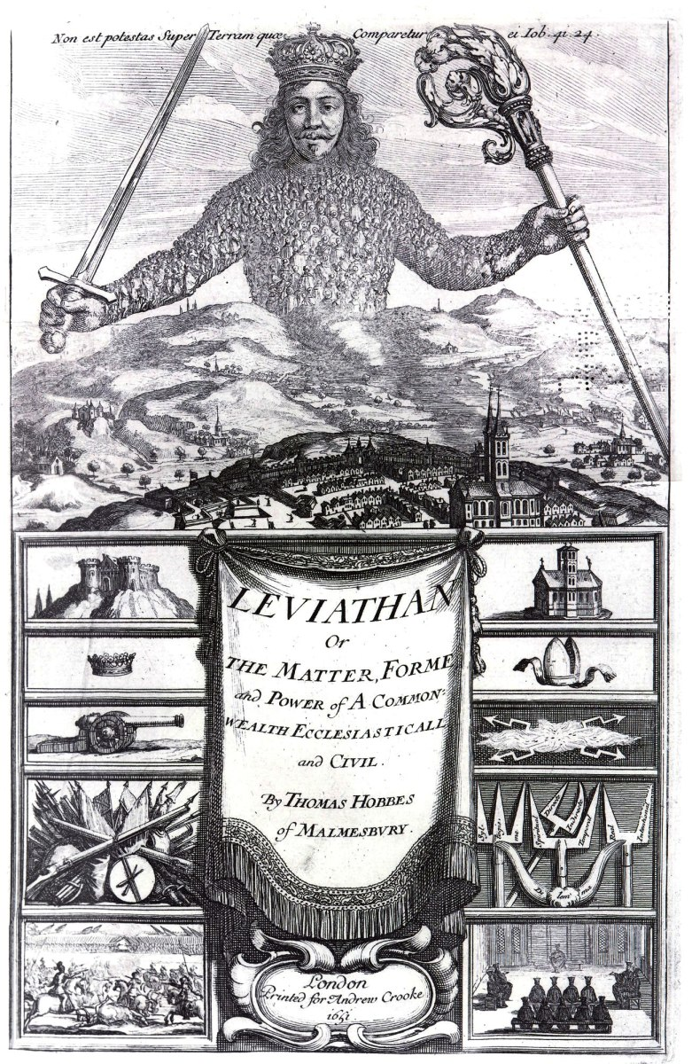 "The cover of Thomas Hobbes book ""Leviathan"" (1651). The close up of the book cover reveals that the links in the armor of the prince are little people, symbolizing that the sovereign is based on the people."
