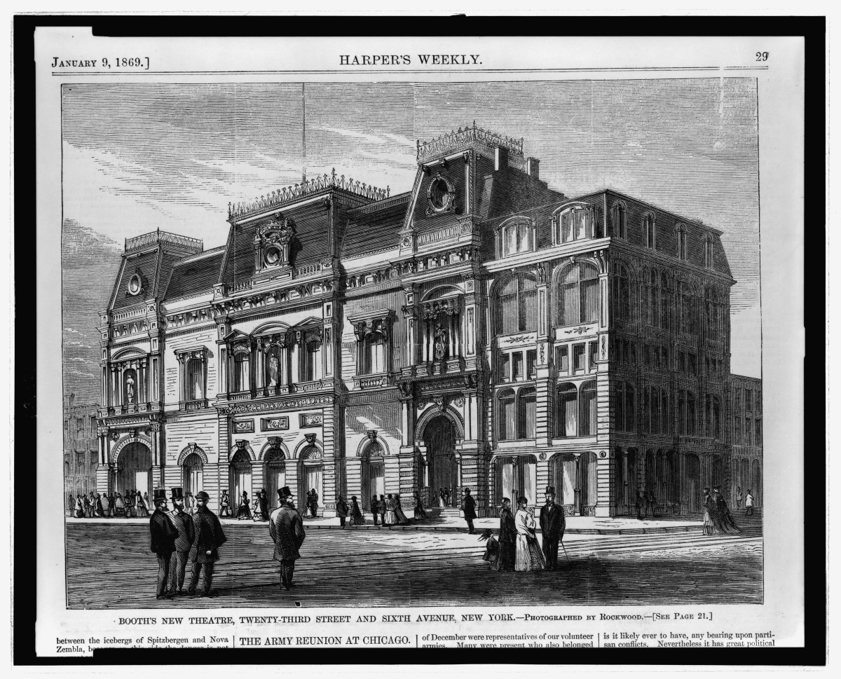Booth's new theatre, 1869. Print in Harper's Weekly after a photograph by George Gardner Rockwood.