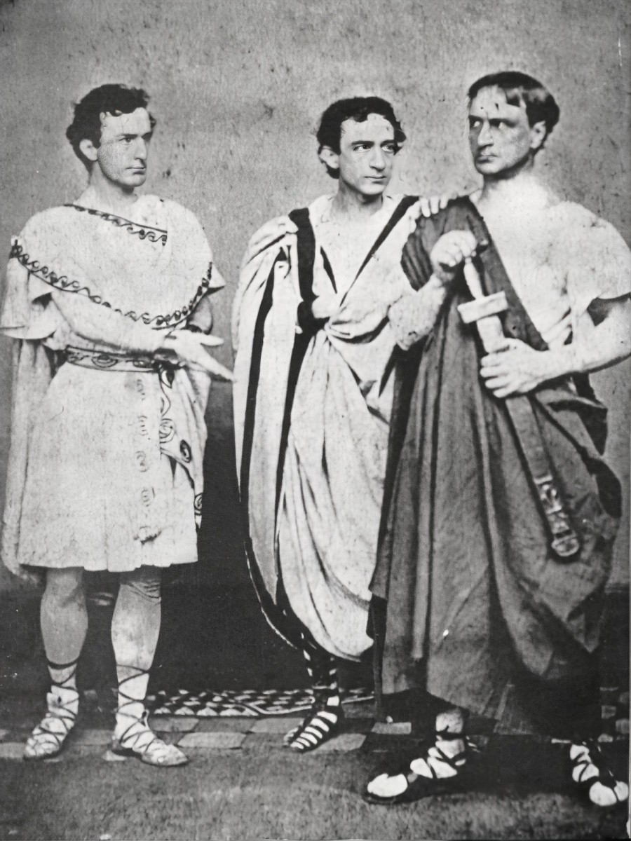 John Wilkes Booth, Edwin Booth, and Junius Brutus Booth, Jr., in Shakespeare's Julius Caesar, 1864.