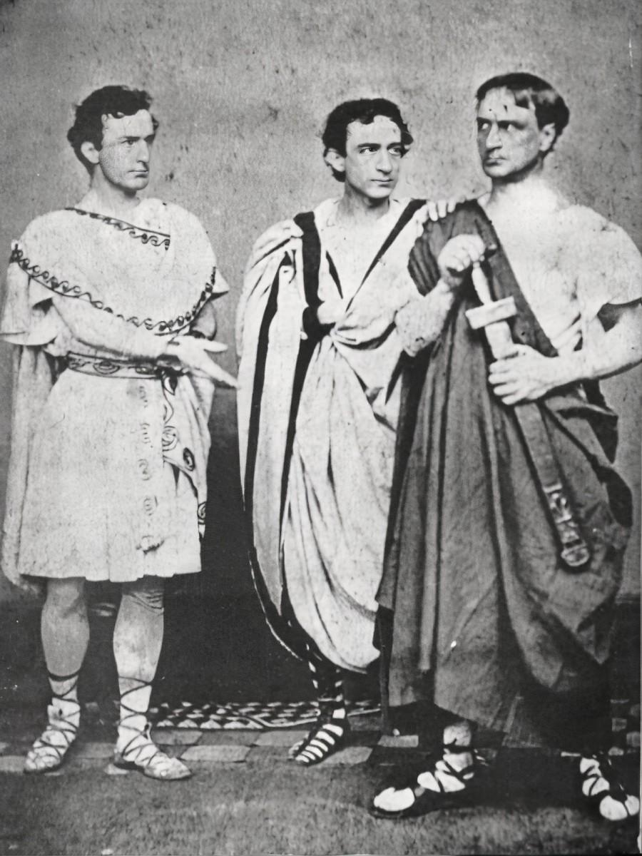 John Wilkes Booth, Edwin Booth, and Junius Brutus Booth, Jr., in Shakespeare's Julius Caesar, 1864.