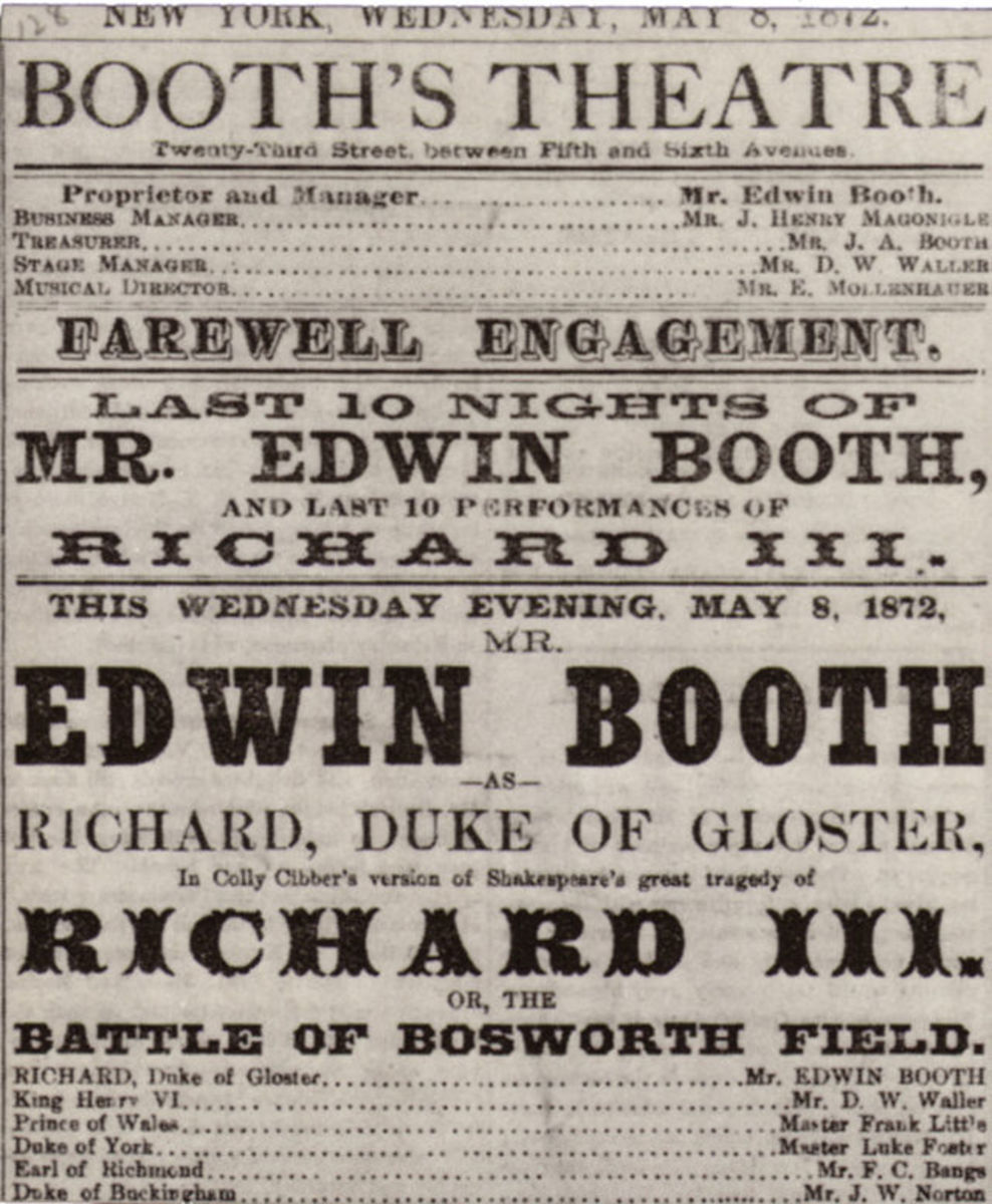 Playbill advertising Edwin Booth in Shakespeare's Richard III at Booth's Theatre, New York City, 1872.