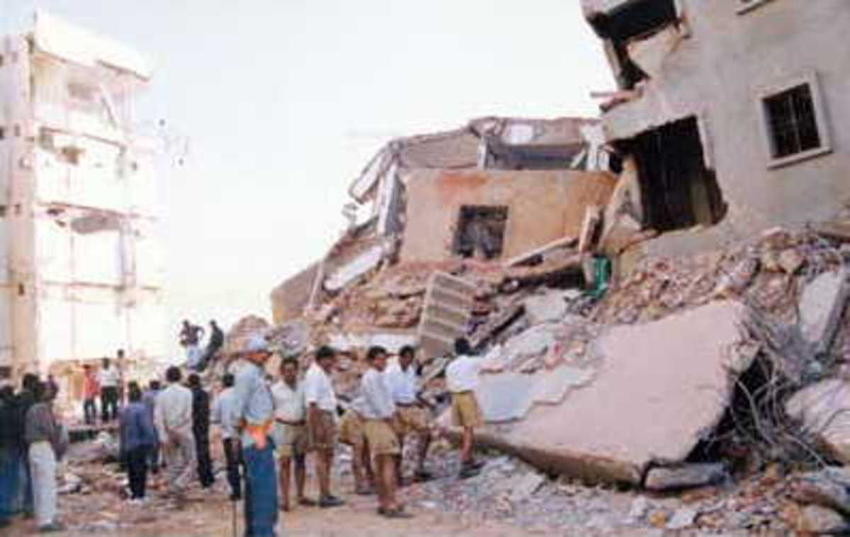 A collapsed building after the earthquake in Gujarat