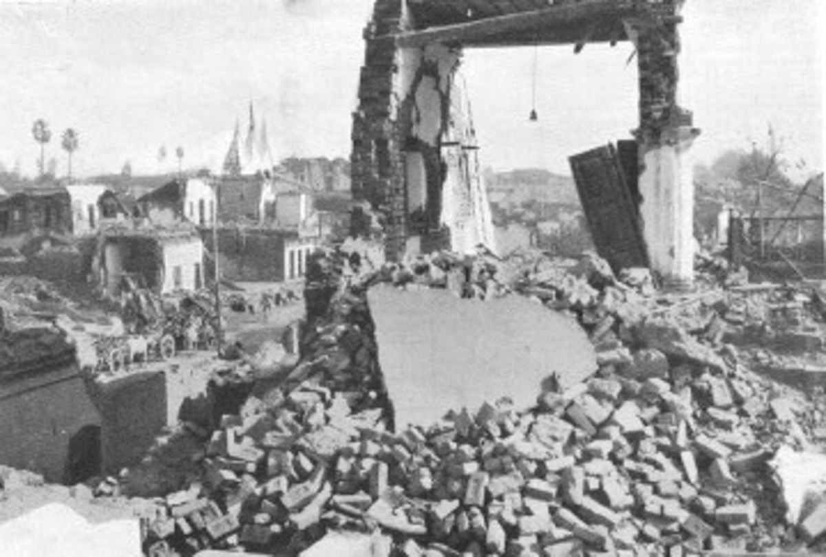 Rubble's galore after the earthquake.