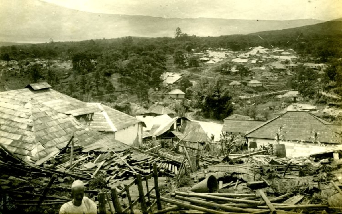 An aerial view of a destructed locality