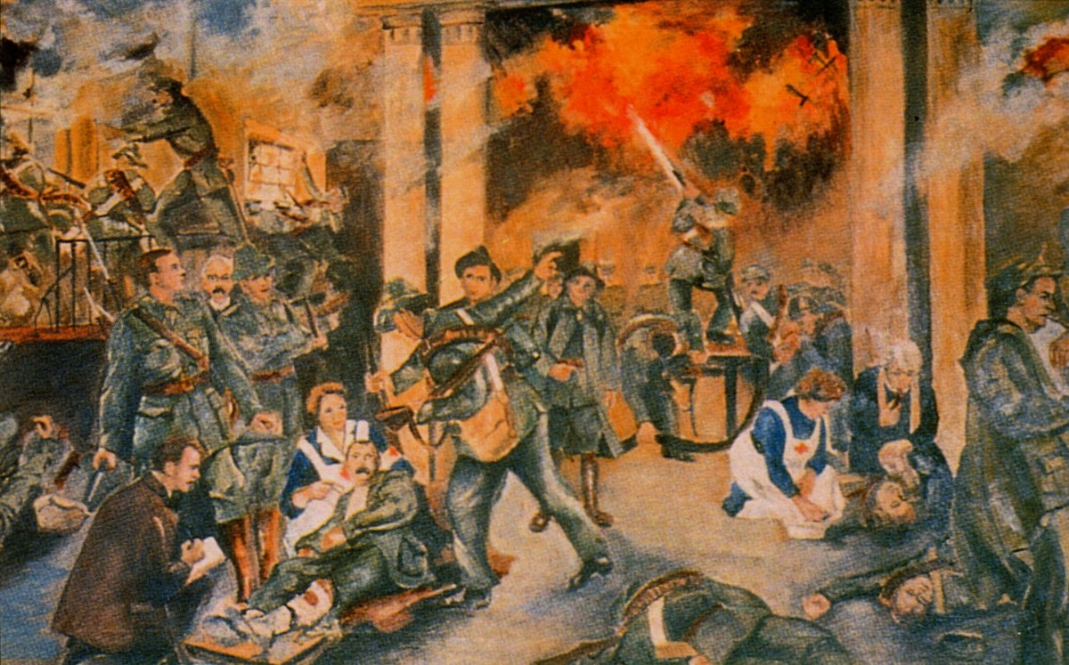 An artist's depiction of the 1916 rising.
