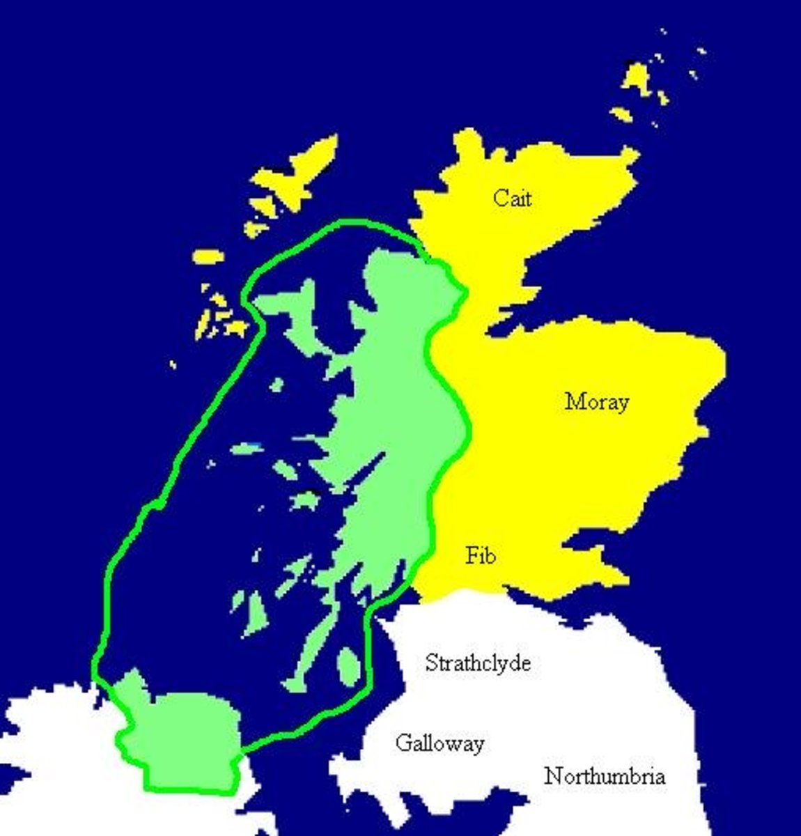 The Kingdom of Dalriada c 500 AD is marked in green. Pictish areas marked yellow.