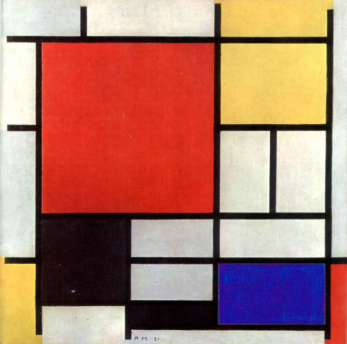 Mondrian has many simple paintings using shape, line, and primary color that work well for preschool critiques.