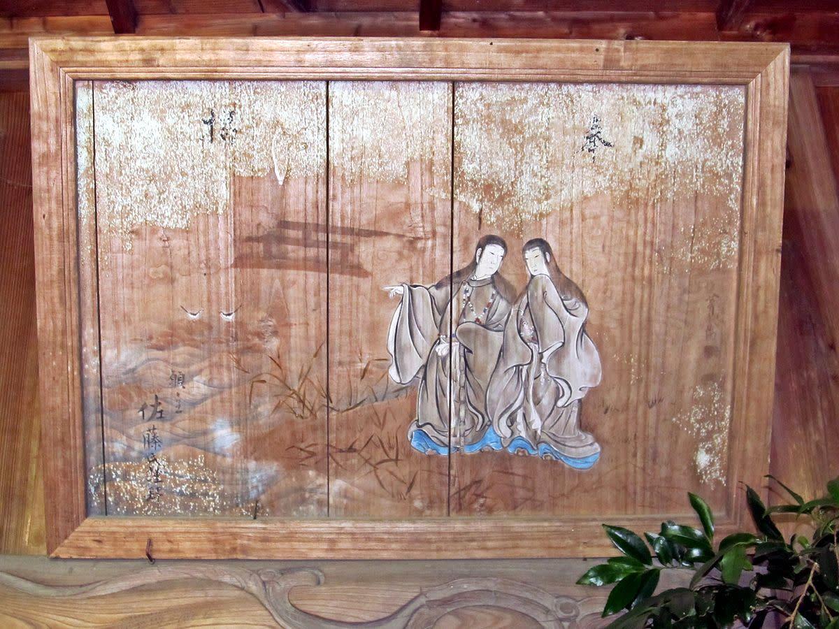 Ema board of Izanagi and Izanami at Taka-jinja shrine