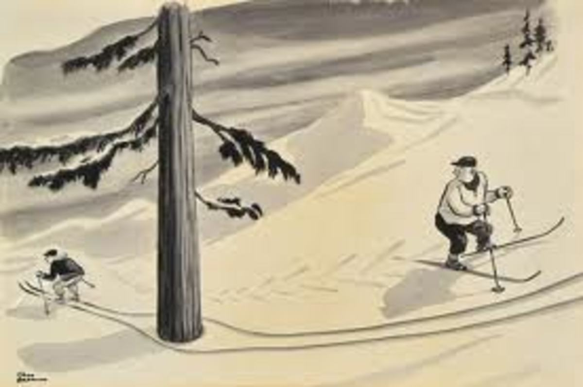 """Downhill Skier""  from 1940 launched Addams' 48 yr. career as a full-time contributor with New Yorker Magazine."