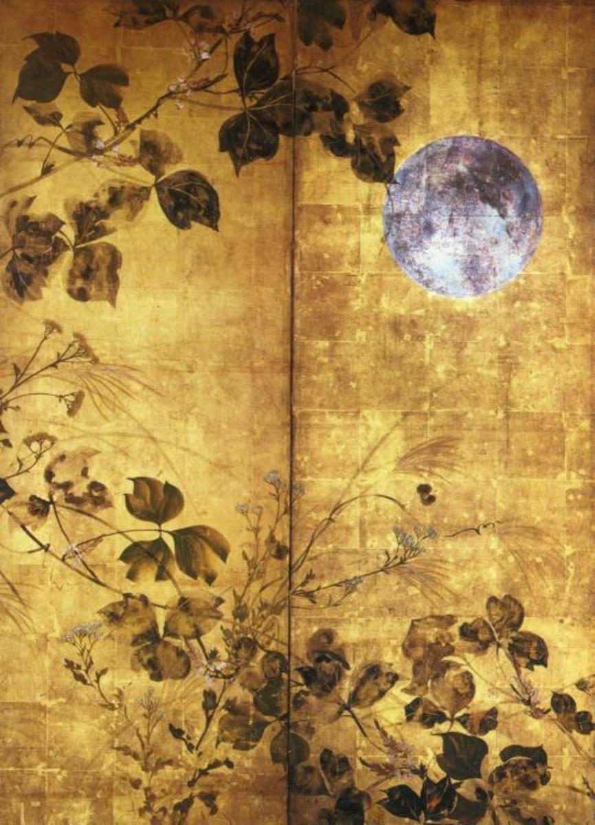 """Autumn Flowers and Moon"" by Sakai Hoitsu"