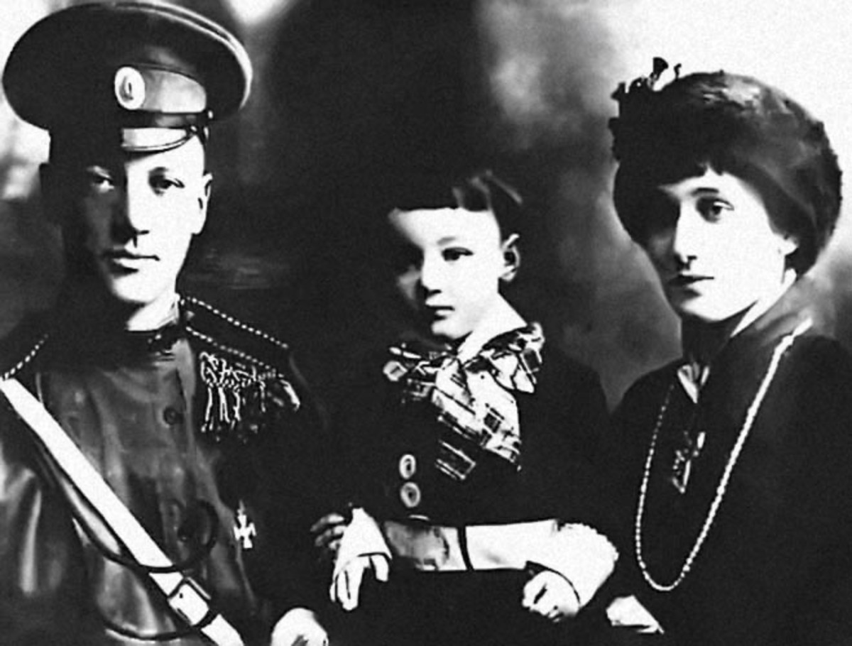 Akhmatova with first husband and son, Lev.