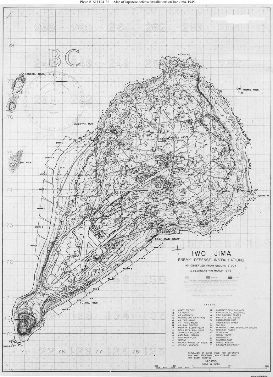 Map of Japanese defense installations on Iwo Jima, 1945