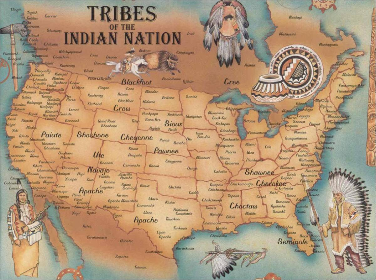 A map of the known tribes of Native Americans in North America at the time of European contact. While the first Americans may have been few, their descendants would spread throughout the land in populations that we can only estimate.