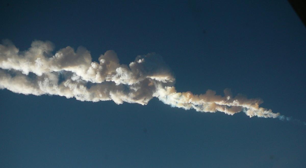 Meteor trace over Chelyabinsk, Russia in 2013