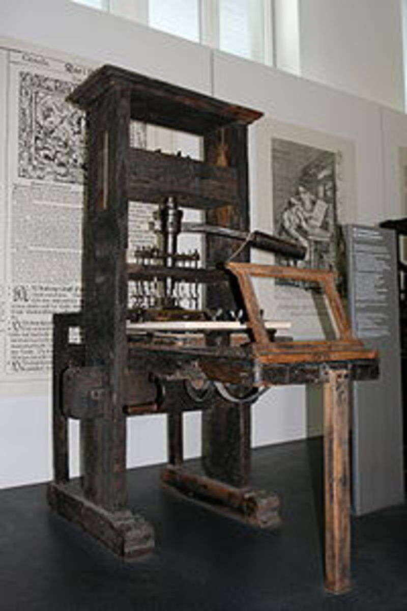The printing press of Gutenburg