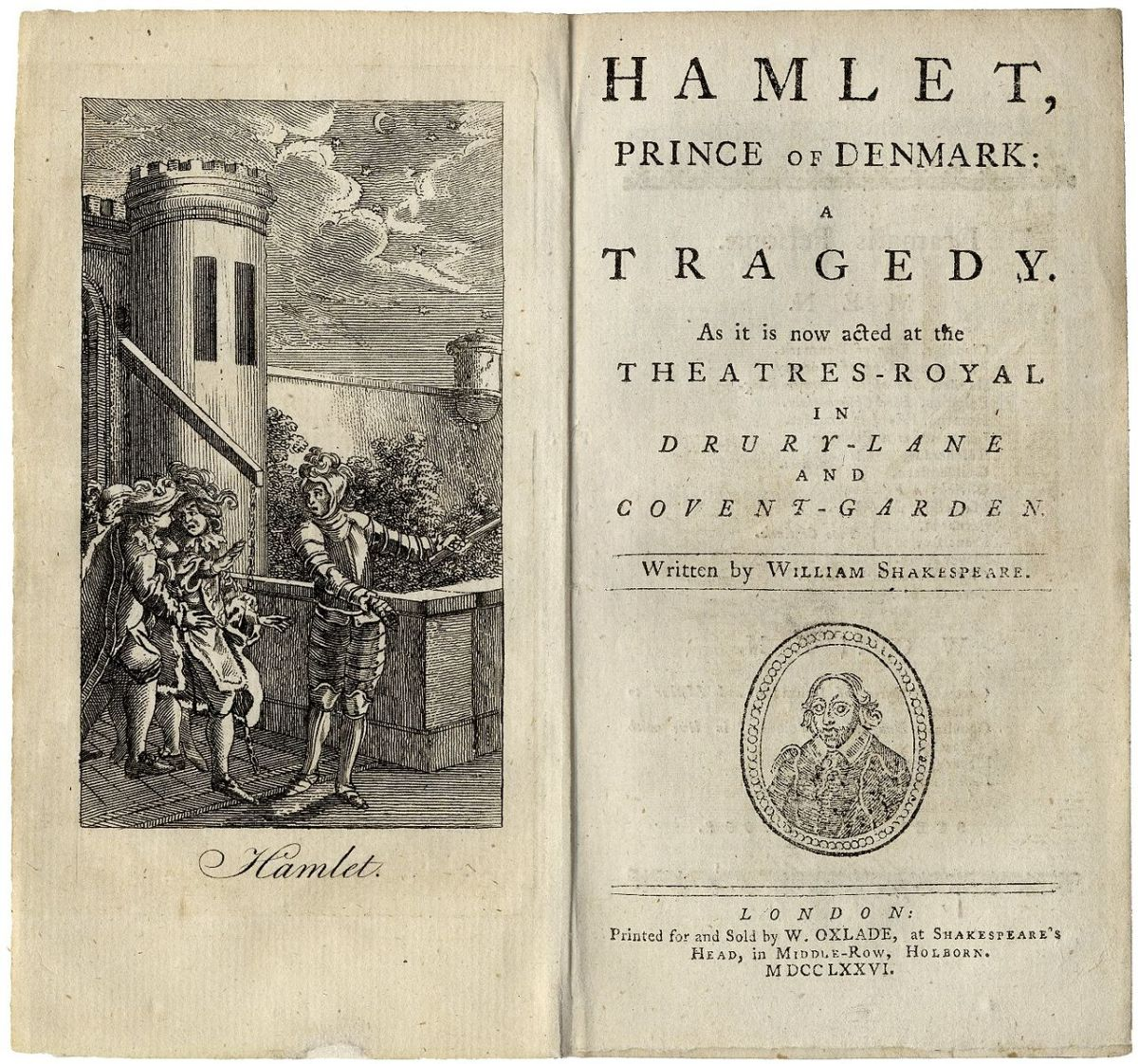 Title page and frontispiece for Hamlet, Prince of Denmark: A Tragedy.