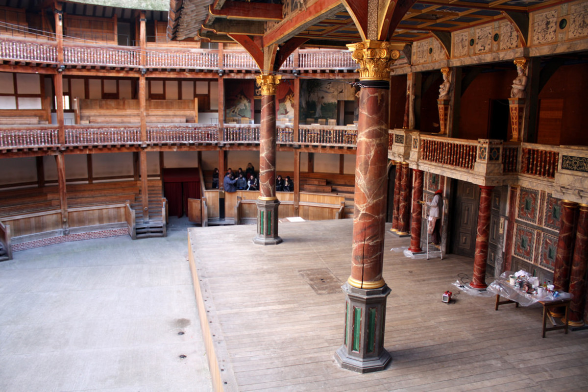 Shakespeare's Globe, a reproduction of the Globe Theatre in London, where Hamlet was first performed.