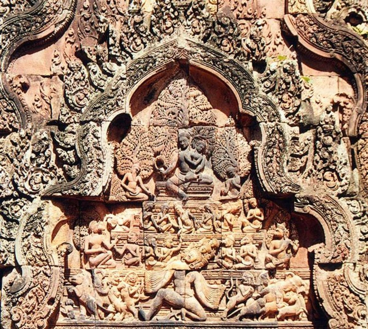 A mural of Shiva, Uma, and Ravana at Banteay Srei temple in Angkor.