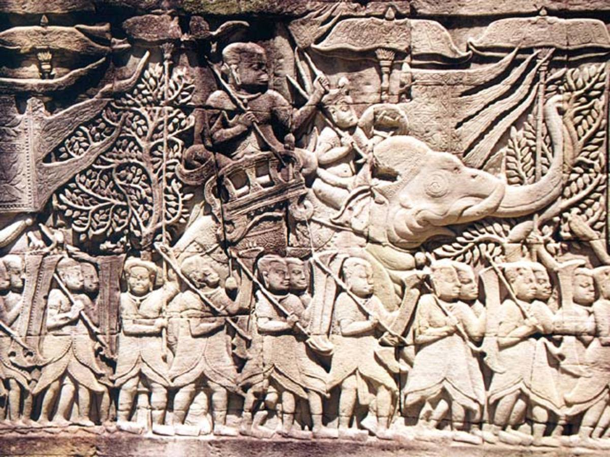 Relief at the Bayon temple in Angkor, Cambodia depicting the Khmer and Cham armies going to war (circa the late 12th or early 13th century).