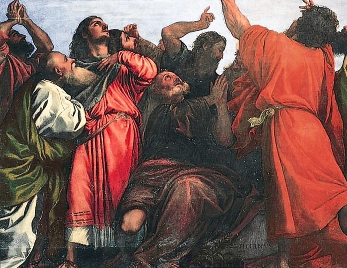 "A detail from ""Assumption of the Virgin"" painted by Titian in 1516 to 1518;  the orange robes were created with vermilion"