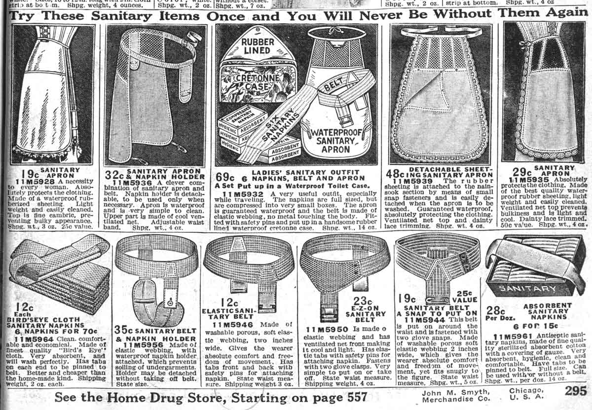 Sanitary aprons, aprons made of waterproof material worn under women's dresses to protect them from stains (as from menstrual blood), seem to have been a hot item in the first half of the 20th-century in America