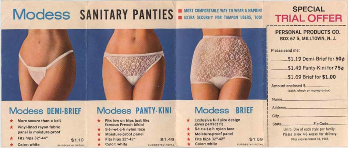 Modess sanitary panties for holding sanitary napkins