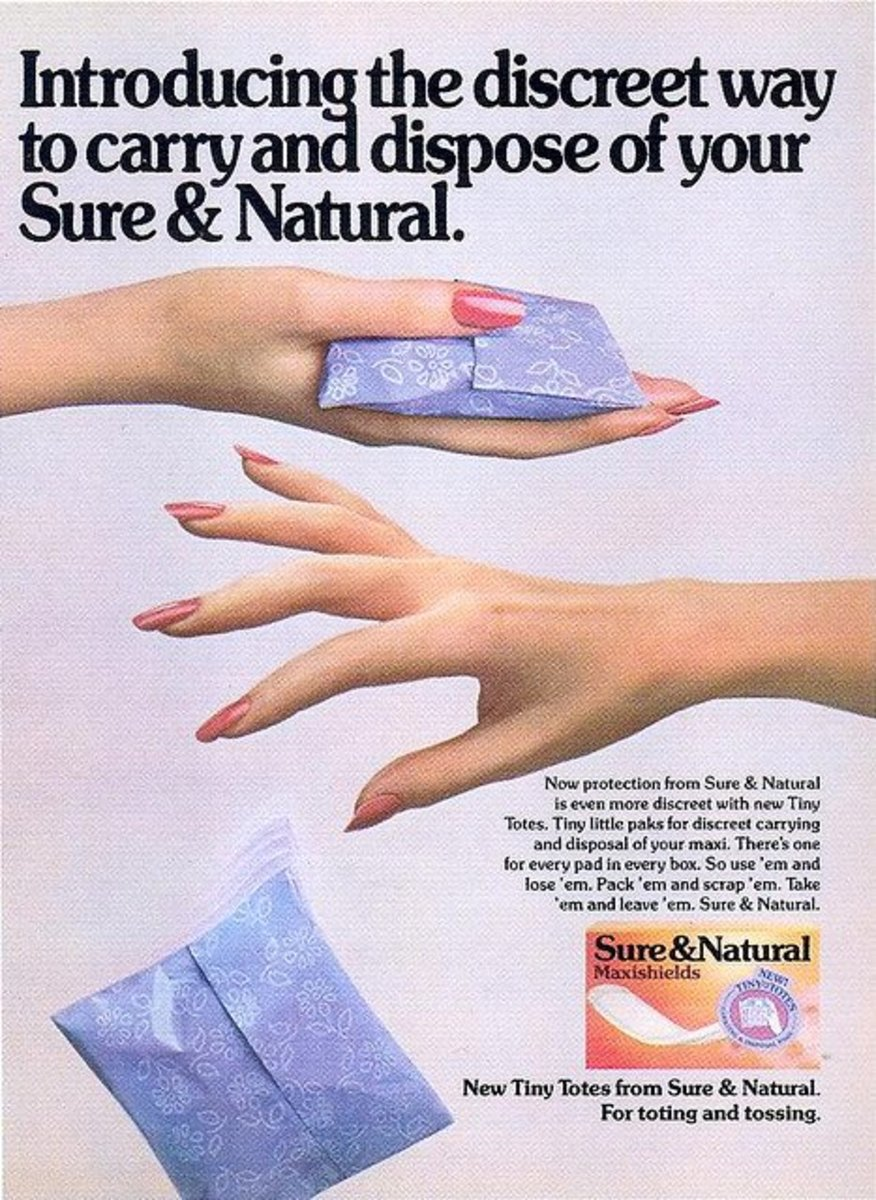 Sure & Natural Maxishields ad, 1985