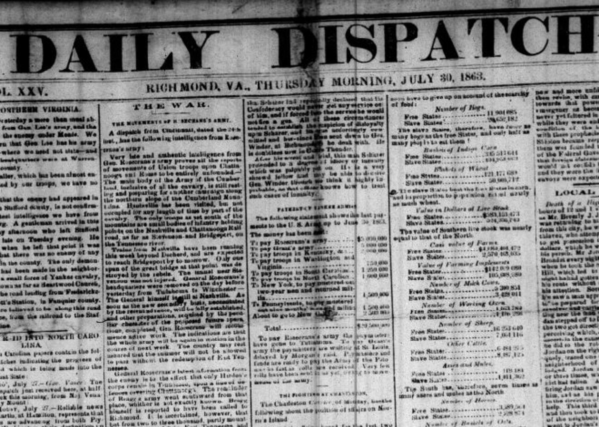 Richmond Daily Dispatch, July 30, 1863