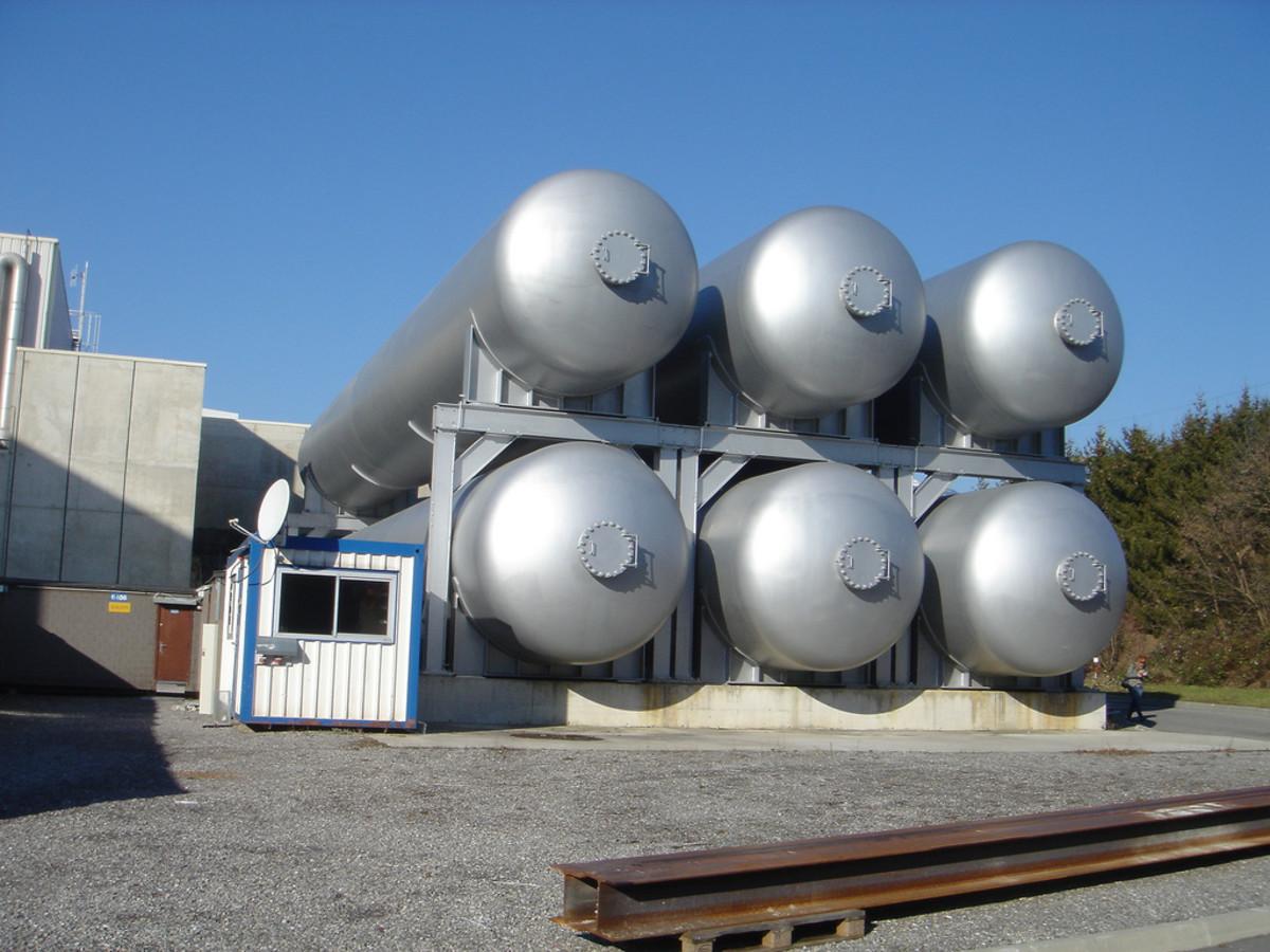 Helium tanks.