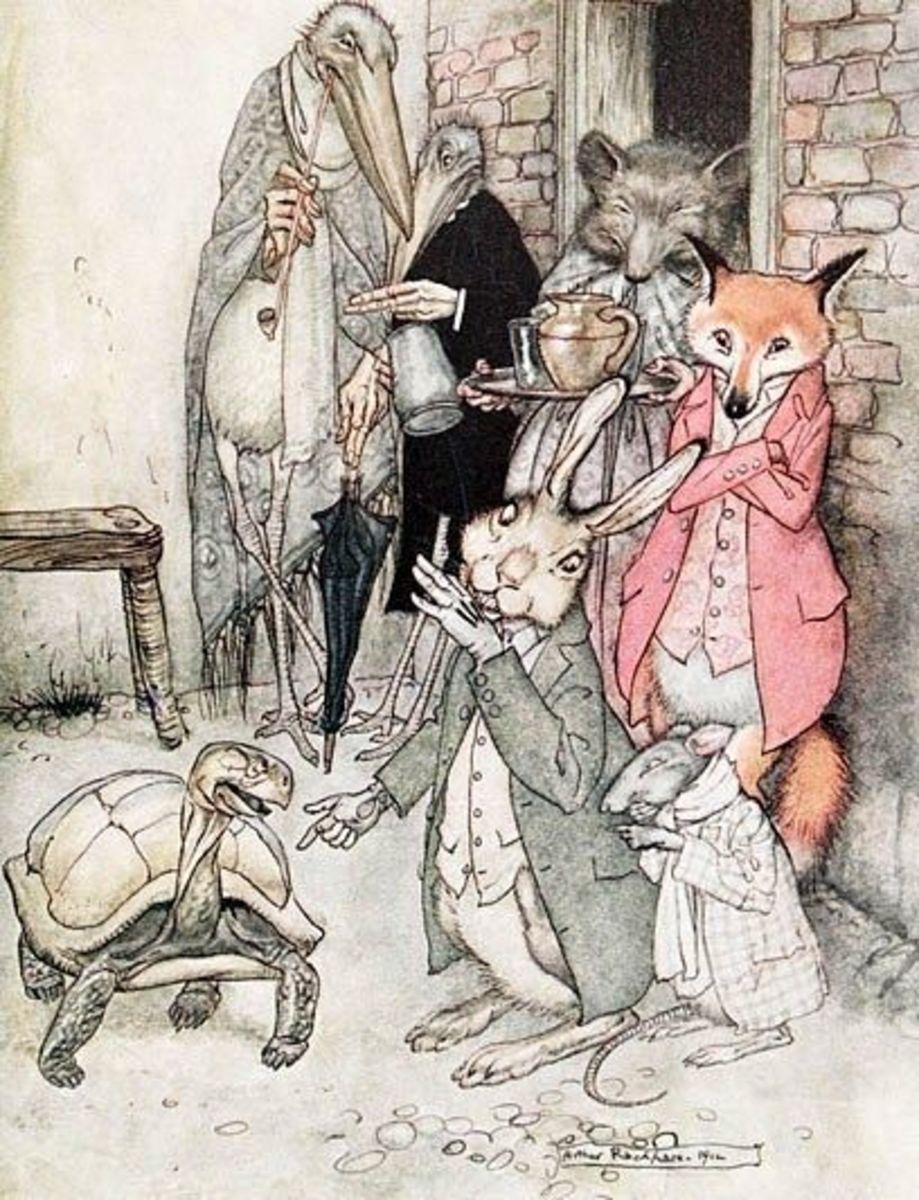 Tortoise and Hare | An Illustration by Arthur Rackham
