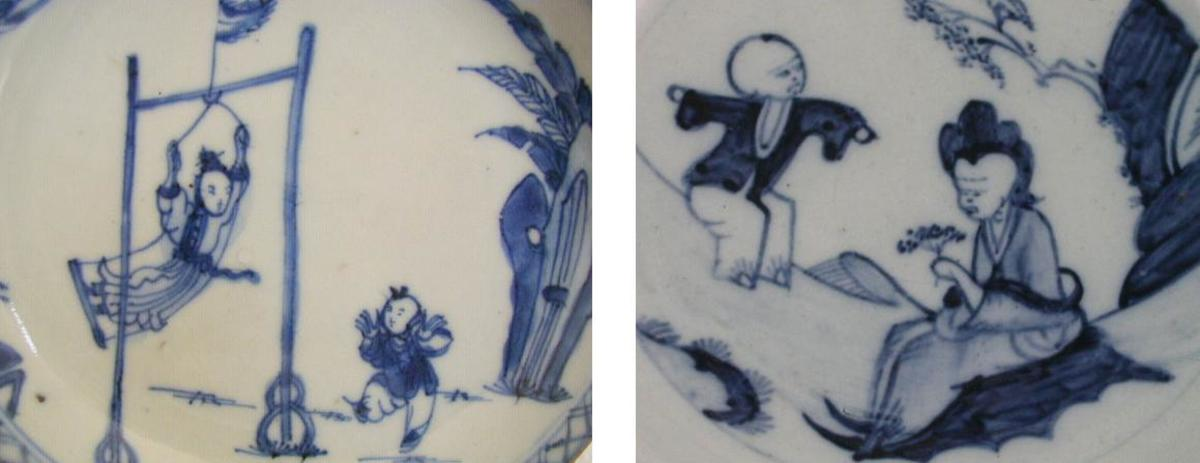 Chinese porcelain and Liverpool porcelain Jumping Boy pattern, both C1760