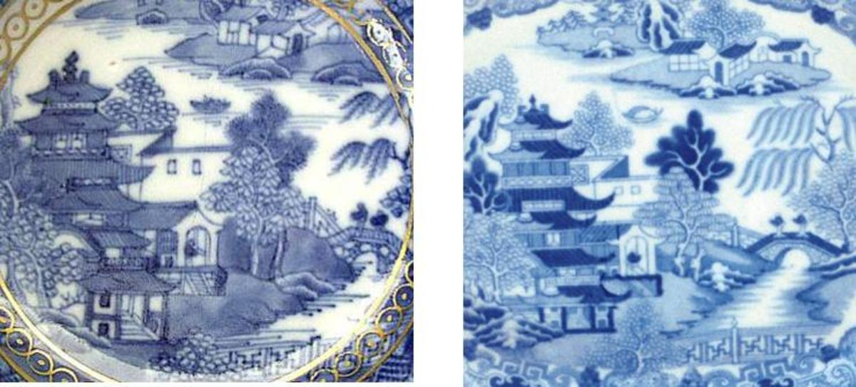 Broseley: Chinese hand painted original to the left