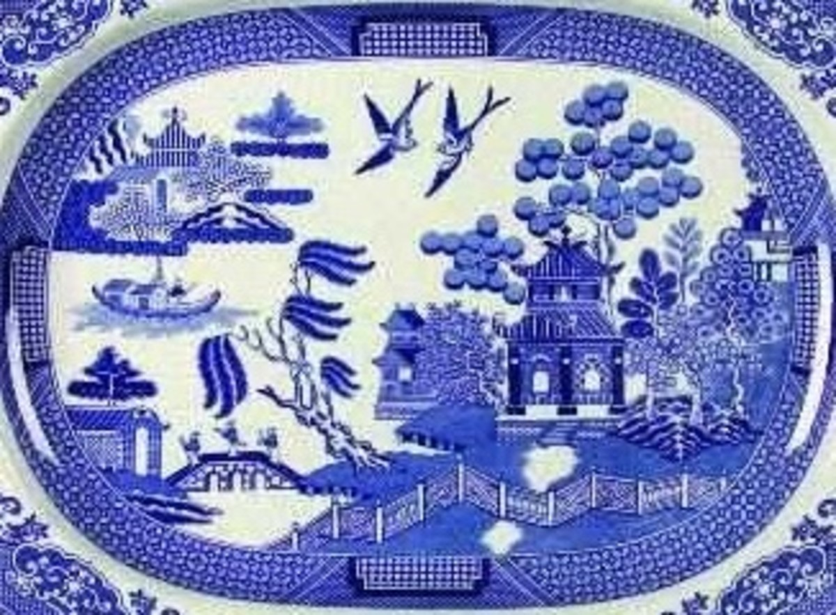 Willow blue transferware