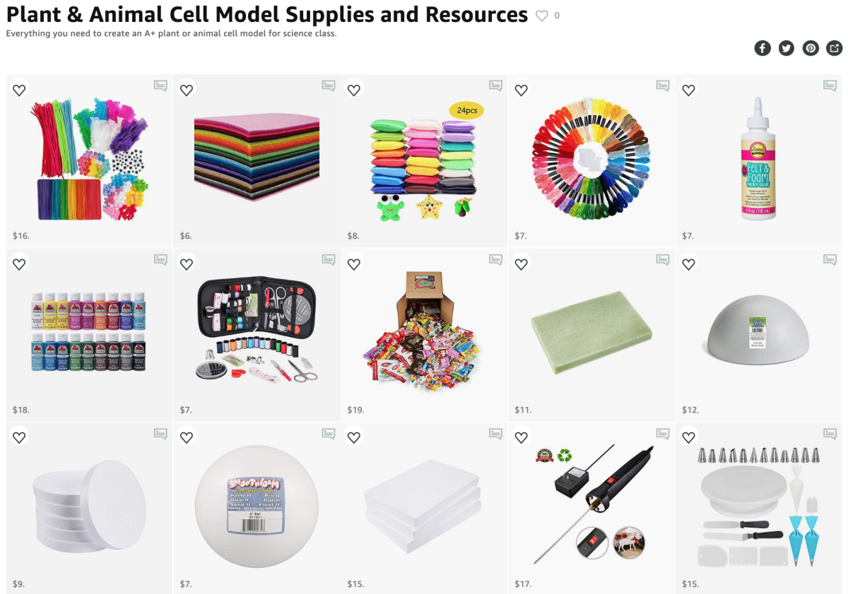 Short on time? My Amazon Idea List has everything you need to create a cell model for science class.