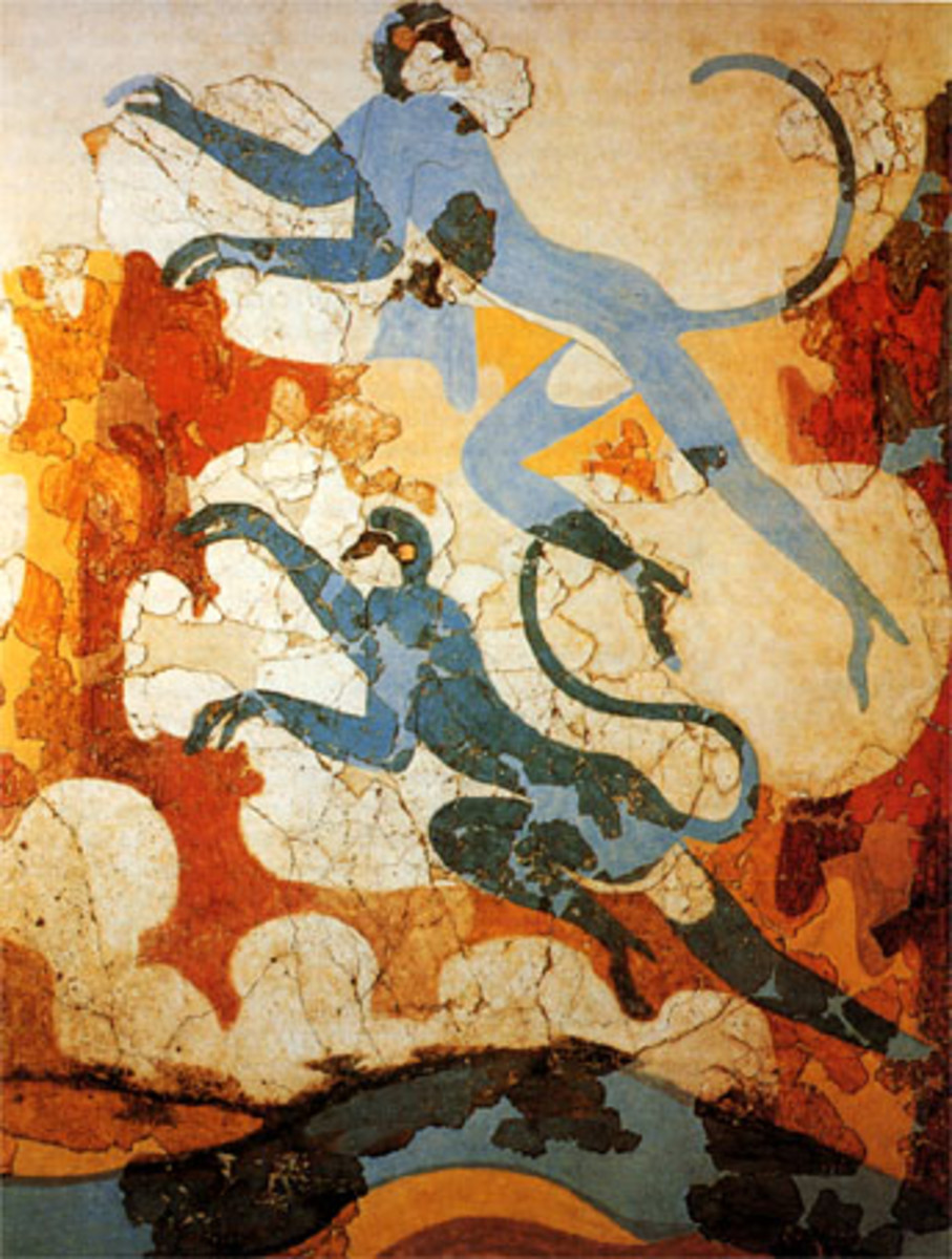 Yet another fresco depicting nature: leaping blue monkeys. Probably not native to the island; the Minoans were a seafaring nation that traded with Egypt, the Near East and Europe, and Thera, a hub of commerce, may have had settlers from far away.
