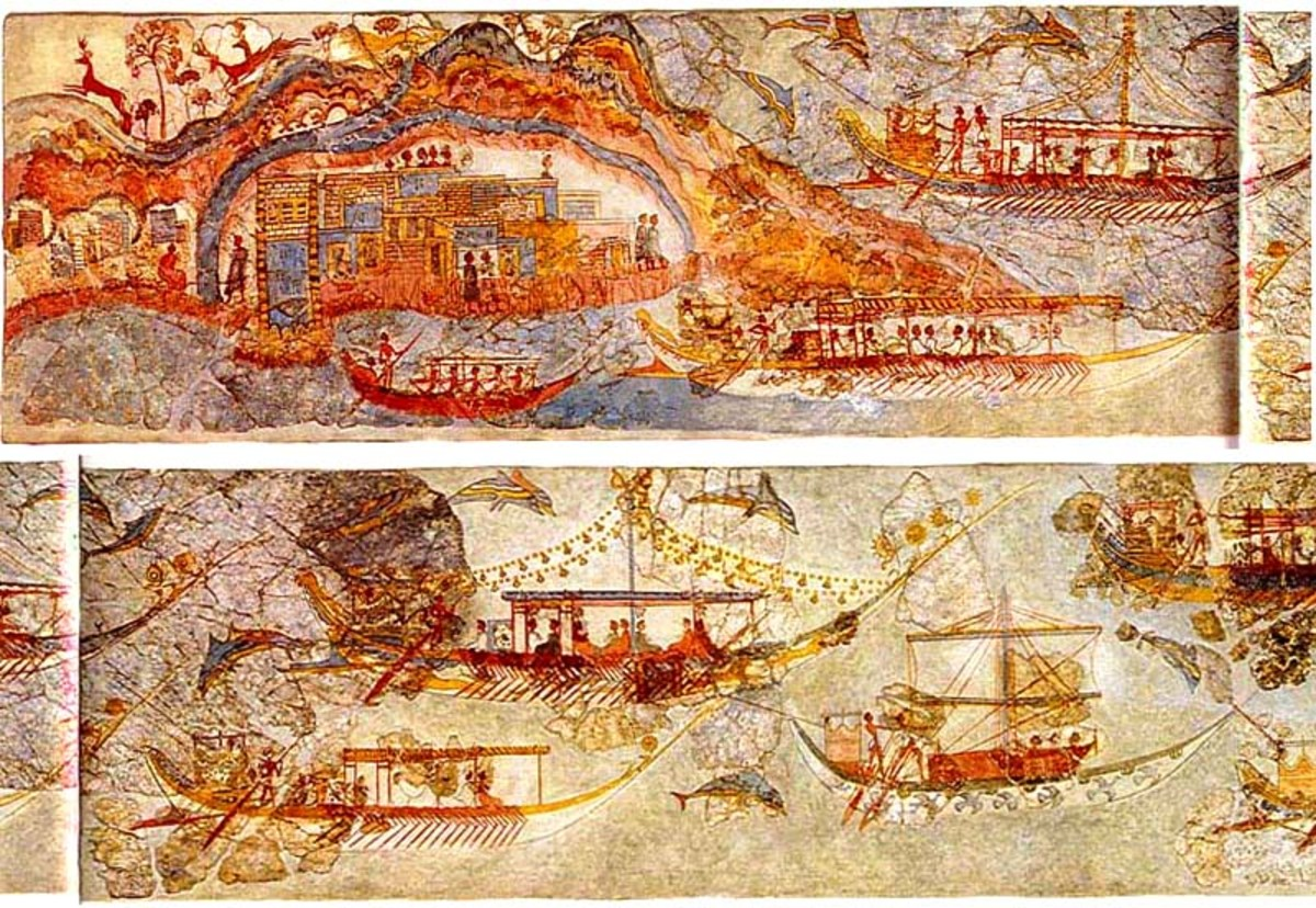 This was one continuous band around the upper wall of a room. It depicts a procession of ships, possibly between Crete (big island of the Minoan civilization) and Thera (ring-shaped island depicted with a city ON the volcano within its harbor!)