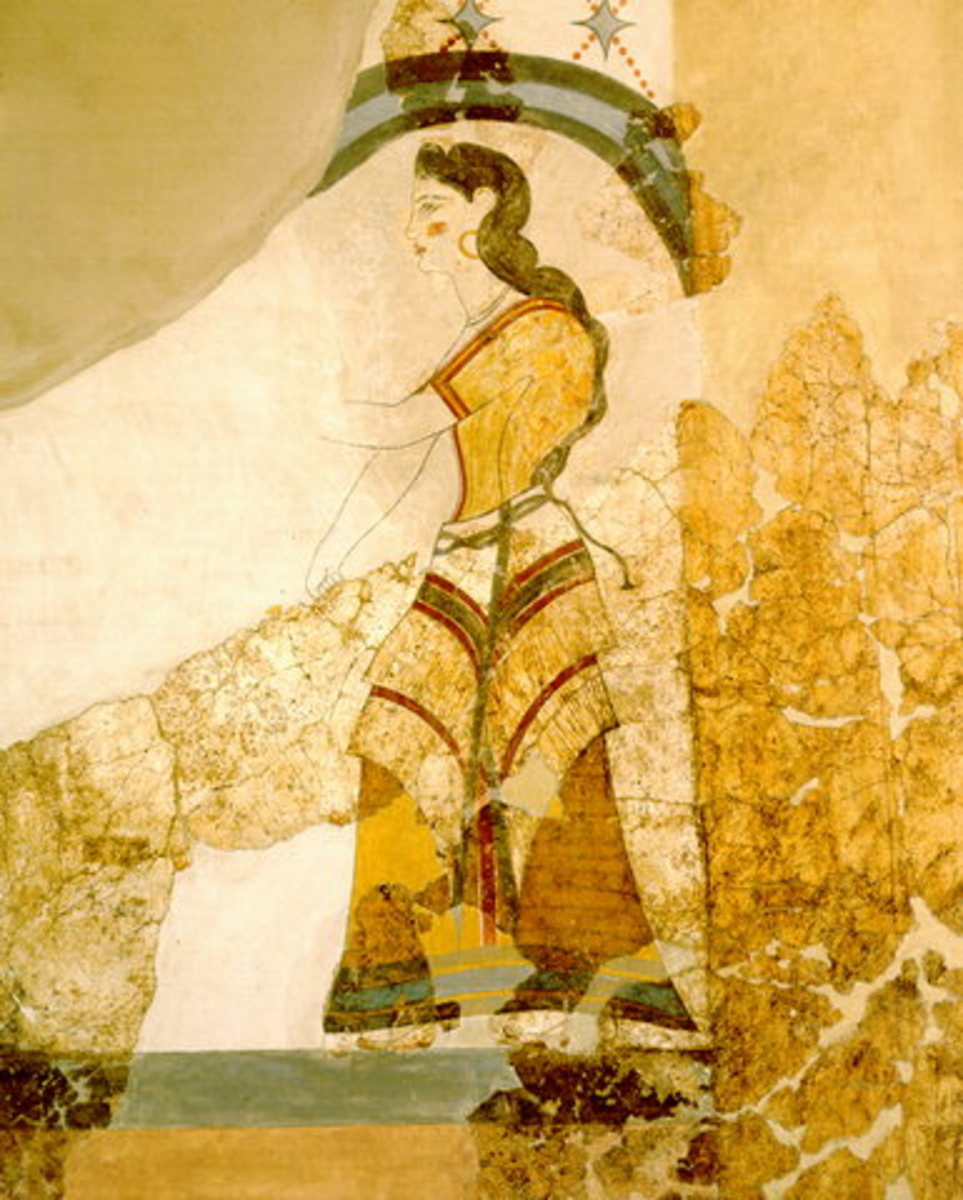The aforementioned lady striding towards the papyrus thicket. I can't tell if an Egyptian merchant lived in this house or, possibly, a Minoan merchant who had visited and/or liked Egyptian art.